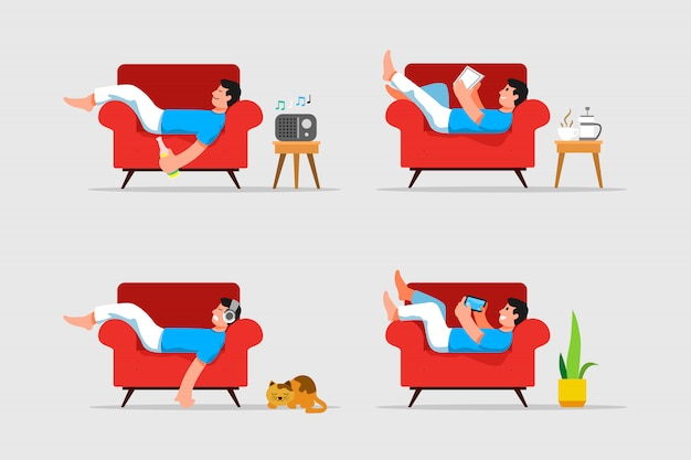 Man laying down and relaxing on couch vector illustration