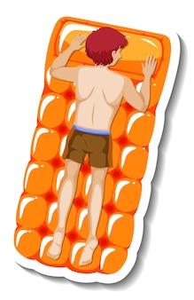 Man laying on floating swimming pool mattress