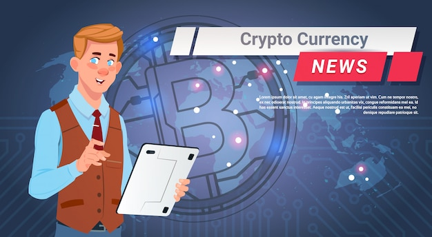 Man leading crypto currency news report golden bitcoin over world map digital web money concept
