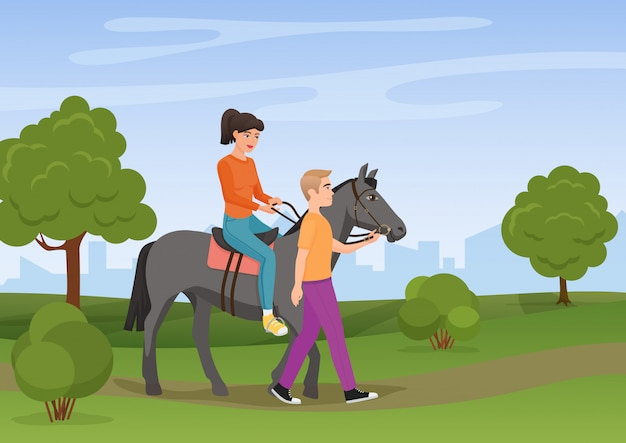 Man leading the horse with the woman riding on it vector illustration.