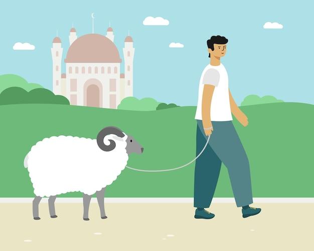Человек ведет барана. ид аль-адха векторная иллюстрация священной исламской праздничной карты.