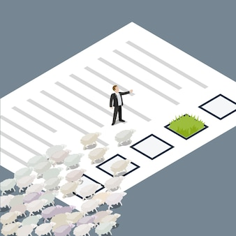 A man leads a flock of sheep along a sheet of document to an island with grass. leader, teacher.