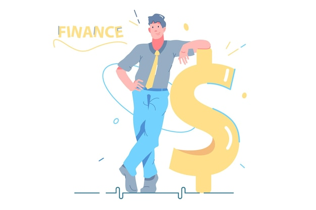 Man leaned against money symbol vector illustration. monthly income, currency and banking flat style. budget planning, cash flow, money, finance, economy concept. isolated on white background