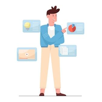 ビジネスを始めるためにオンラインで学ぶ男