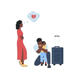 Мужчина оставляет жену и ребенка плоских цветных подробных персонажей