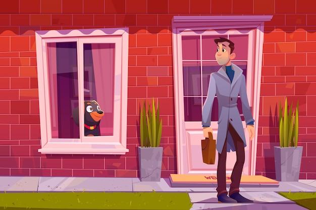 犬と一緒に家を出る男は窓から彼を見送ります