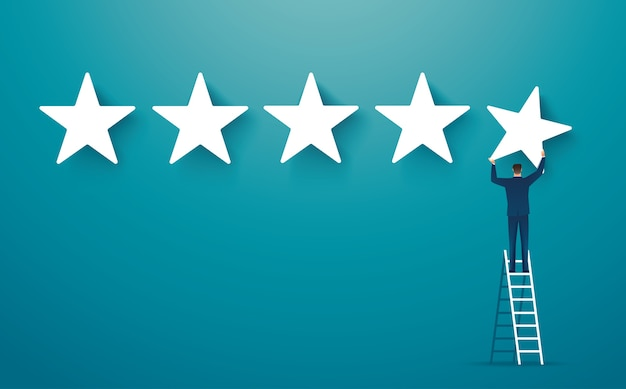 Man on ledder giving five star rating