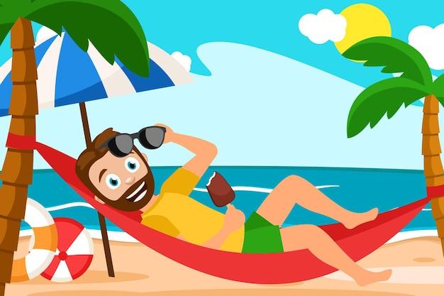 Man lies in a hammock around a palm tree illustration