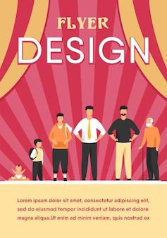 人間のライフサイクルの概念。異なる年齢の男性キャラクターのセット。赤ちゃん、子供、男の子、生徒、学生、大人、年金受給者、老人が並んでいます。フラットフライヤーテンプレート