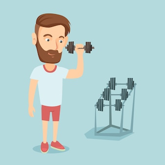 Man lifting dumbbell vector illustration.
