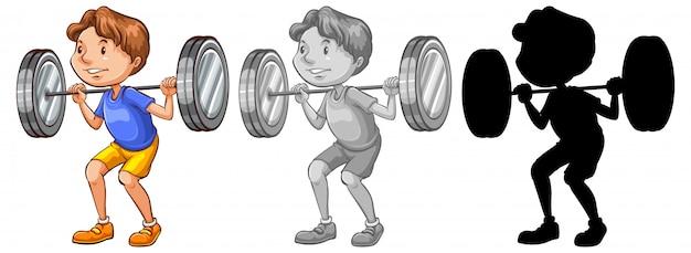 Man lifting weight character
