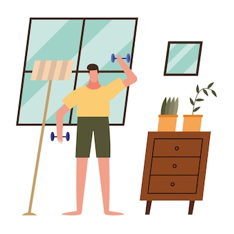 Man lifting weights at home design of activity and leisure theme.