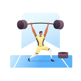 Man lifting weights isolated on white