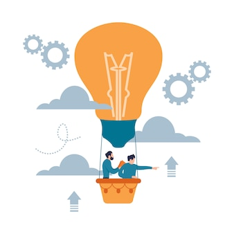 Man in light bulb balloon search to success. business idea concept flat cartoon style