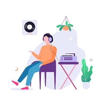 남자는 헤드폰에서 음악을 듣습니다. 남성 사람과 사운드 시스템. 삽화