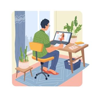 남자는 컴퓨터 원격 교육에 대한 웨비나를 듣습니다.
