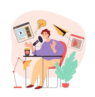 Человек, слушающий и записывающий аудио-подкаст, концепция графического дизайна, иллюстрация