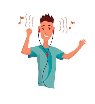 음악을 듣는 남자. 이어폰으로 만화 젊은 캐릭터의 손 춤