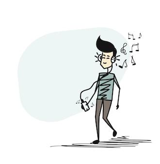 Человек слушает музыку в наушниках, показывая ноты за спиной. плоский дизайн. мультяшный рисованной эскиз векторный фон.