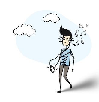 그의 뒤에 메모를 보여주는 헤드폰으로 음악을 듣고 남자. 평면 디자인. 만화 손으로 그린 스케치 벡터 배경입니다.