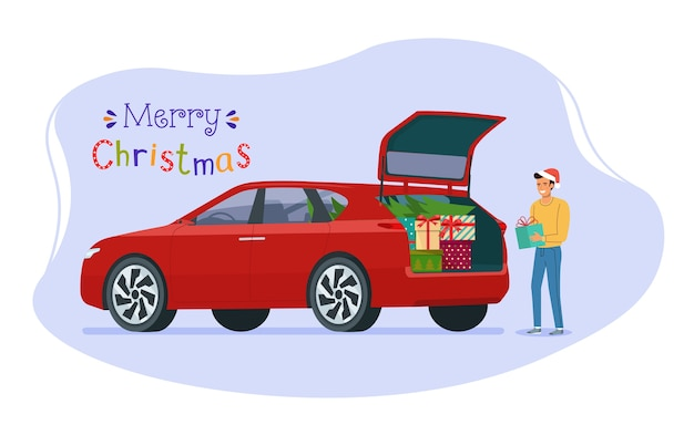 Man loading christmas gifts into the trunk of a car.  flat style illustration.