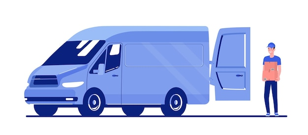 Man loads boxes in a cargo van. vector flat style illustration.