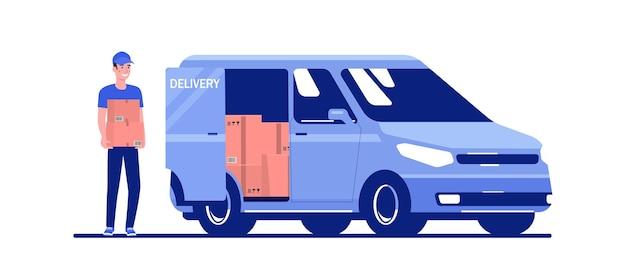 Мужчина загружает ящики в грузовой фургон. векторная иллюстрация плоский стиль.