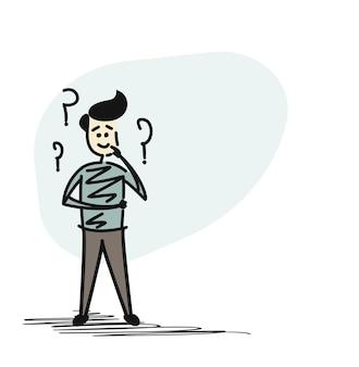 Человек, глядя на вопросительные знаки, мультфильм рисованной эскиз векторные иллюстрации.