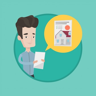 Man looking for house vector illustration.