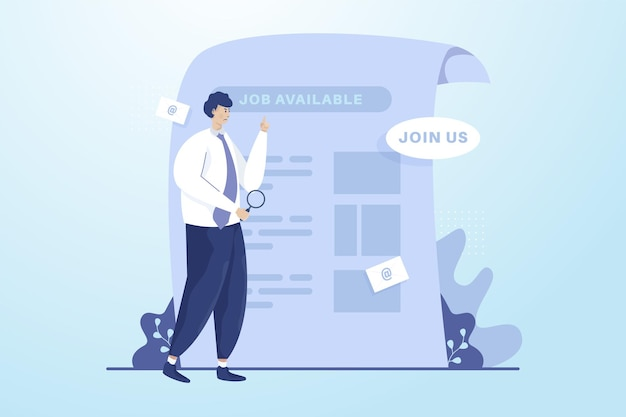 A man looking for job vacancy illustration concept