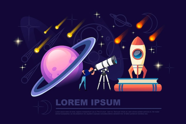 밤 하늘 배경 평면 벡터 일러스트 플라네타륨 디자인 수평 배너에 떨어지는 별과 흰색 망원경을 통해 보는 남자.