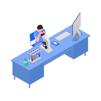 과학 실험실 아이소메트릭에서 현미경을 통해 보는 남자