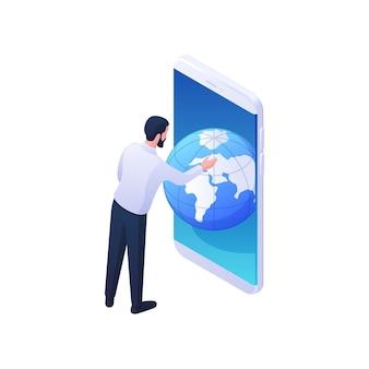 男は、モバイルアプリケーションの等角図でグローバルな地理を見てください。男性キャラクターがスマートフォンでウェブ地球儀をスクロールします。国際情報学と惑星学習の概念。