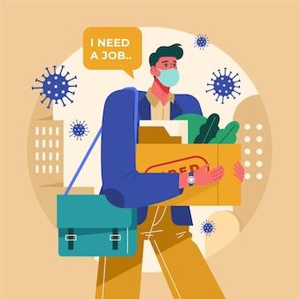 Uomo che perde il lavoro a causa della crisi del coronavirus