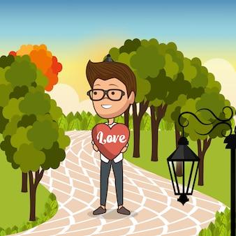 Man in love in the park