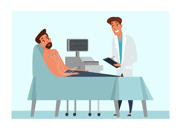 Человек, лежащий на кровати в клинике с врачом