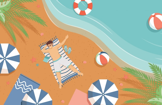 Man lying on the sand beach flat illustration. summer vacation, tropical resort concept.