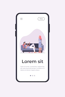 Man lying on sofa when woman standing and looking at him. couch, laziness, wife flat vector illustration. family and relationship concept for banner, website design or landing web page