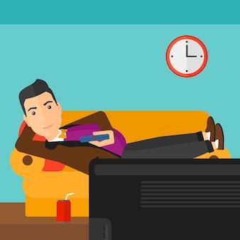 Man lying on sofa.