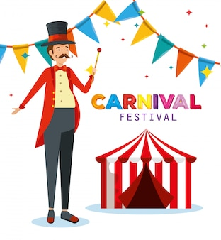 Man magician costume with circus and party banner