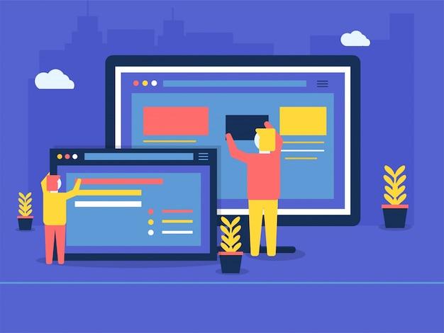 Man maintaining website for website under maintenance concept.