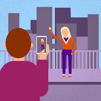 Man Make Photo Woman On Cell Smart Phone Over Big City View
