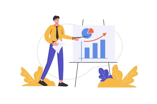 Человек делает бизнес-презентацию на встрече. бизнесмен стоит у доски с изолированной сценой людей диаграмм. концепция развития компании и финансового отчета. векторная иллюстрация в плоском минималистском дизайне