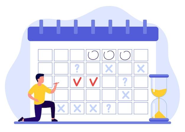 男性はスケジュールを作成し、計画はカレンダーを埋めます男性は計画をマークします日付の締め切り