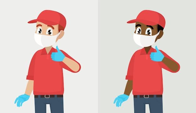 Человек делает согласен положительный символ курьер или доставщик в маске и перчатках показывает палец вверх знак