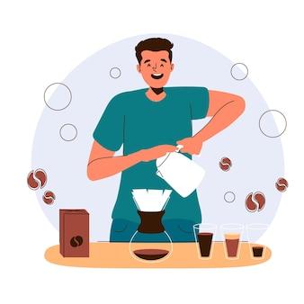 Человек делает иллюстрацию кофе