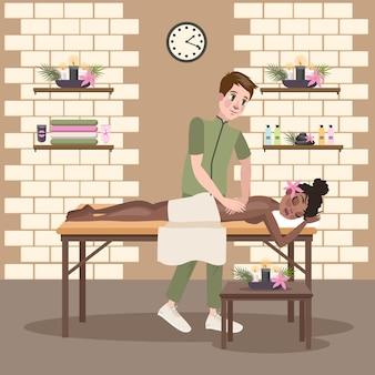 Мужчина делает массаж для молодой красивой женщины. спа-процедура в интерьере салона красоты. лечение и расслабление спины. иллюстрация