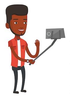 Man making selfie  .