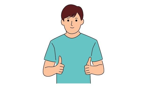 親指を立てる男