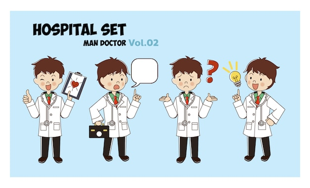 Man male doctor cartoon style set. illustration isolated. hospital set. medical activities.